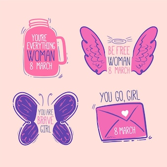 Ręcznie Rysowane Pakiet Etykiet Międzynarodowego Dnia Kobiet Darmowych Wektorów