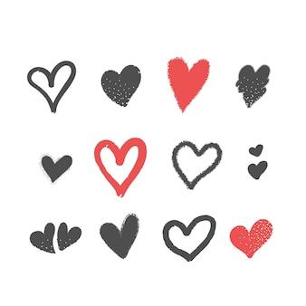 Ręcznie rysowane pakiet ilustracji serca