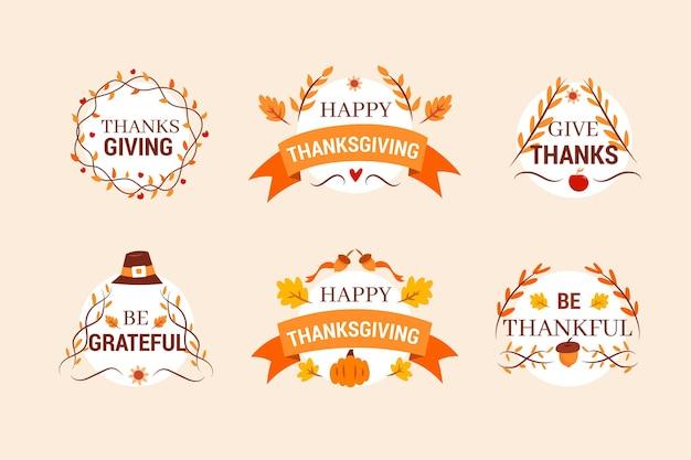 Ręcznie rysowane pakiet odznak dziękczynienia