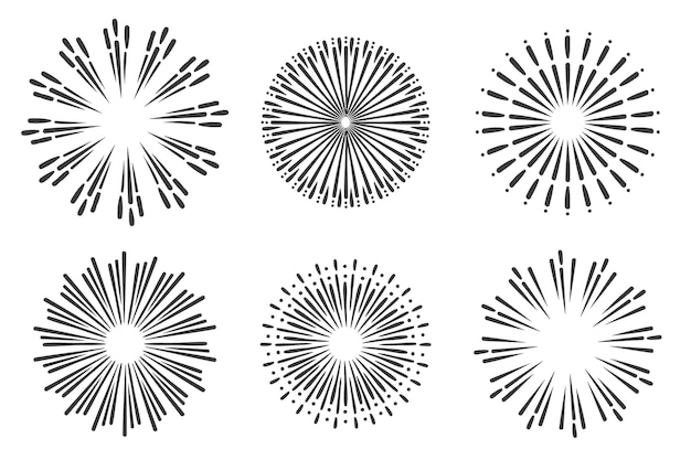 Ręcznie rysowane pakiet ozdób sunburst