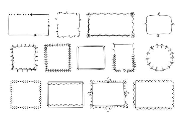 Ręcznie rysowane pakiet ozdobnych ramek