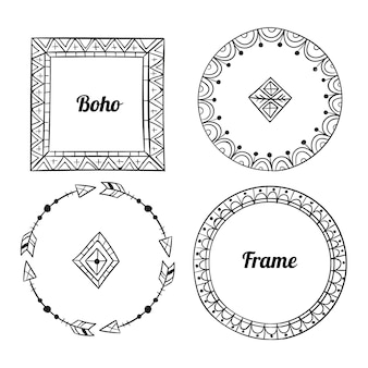 Ręcznie rysowane pakiet ramek boho