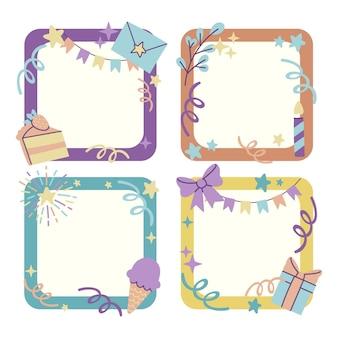 Ręcznie rysowane pakiet ramek do kolażu urodzinowego