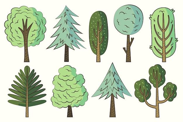 Ręcznie rysowane pakiet różnych rodzajów drzew
