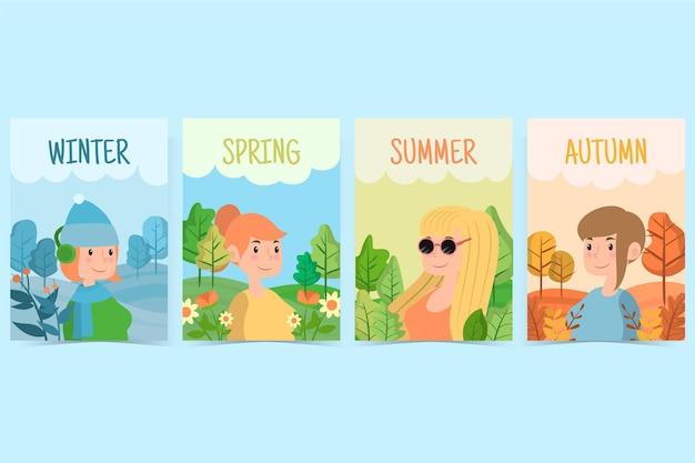 Ręcznie rysowane pakiet sezonów