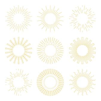Ręcznie rysowane pakiet sunburst w stylu