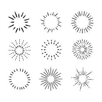 Ręcznie rysowane pakiet sunburst