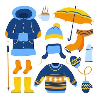 Ręcznie rysowane pakiet ubrań zimowych