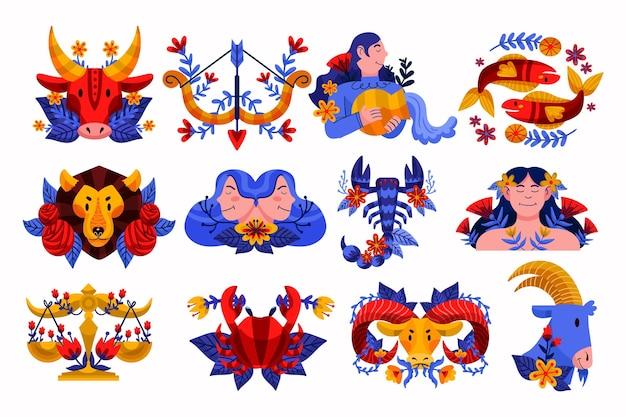 Ręcznie rysowane pakiet znak zodiaku