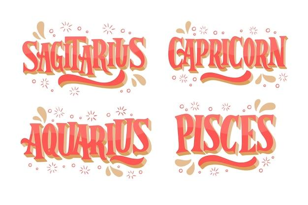 Ręcznie rysowane pakiet znaków zodiaku