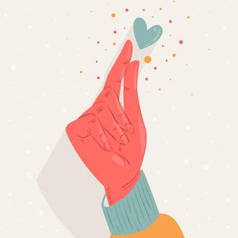 Ręcznie rysowane palec serce