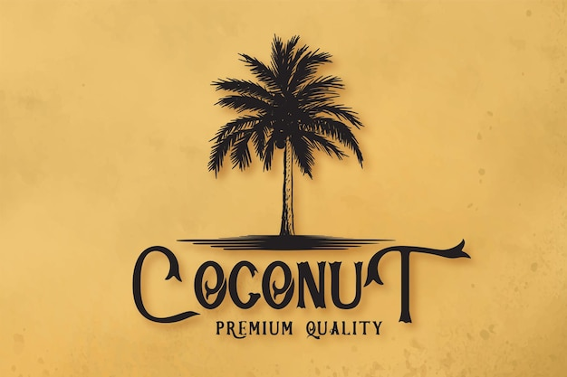 Ręcznie rysowane palmy na wyspie logo