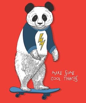 Ręcznie rysowane panda wektor wzór do druku t shirt