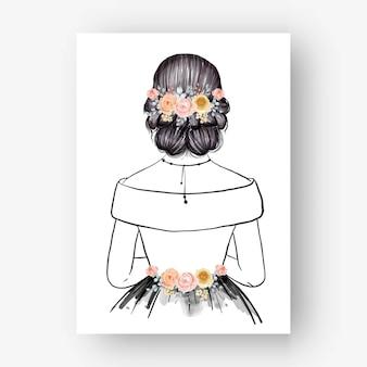 Ręcznie rysowane panna młoda z piękną fryzurą kwiatową akwarelową ilustracją