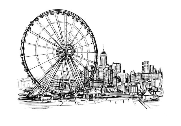 Ręcznie rysowane panoramę hongkongu