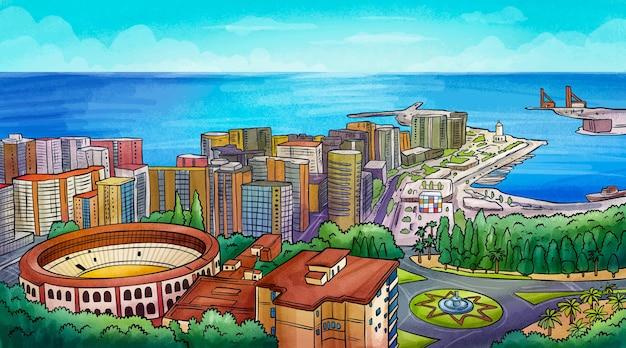 Ręcznie rysowane panoramę malagi