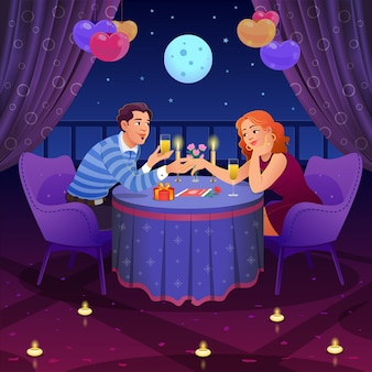 Ręcznie rysowane para uroczystości romantyczną kolację