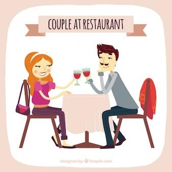 Ręcznie rysowane para w restauracji