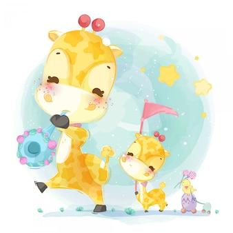 Ręcznie rysowane parada uroczych zwierzątek. ilustracji wektorowych