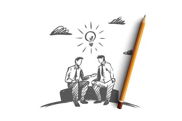 Ręcznie rysowane partnerów biznesowych omawiających szkic koncepcji projektu