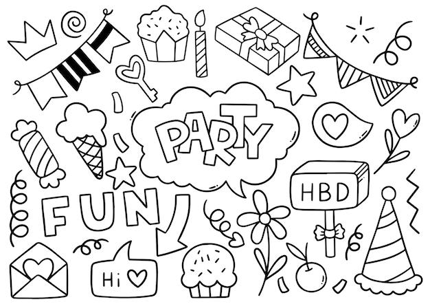 Ręcznie rysowane party doodle wszystkiego najlepszego z okazji urodzin ozdoby wzór tła