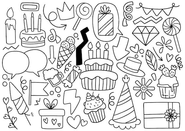 Ręcznie rysowane party doodle z okazji urodzin ozdoby tło wzór ilustracji wektorowych