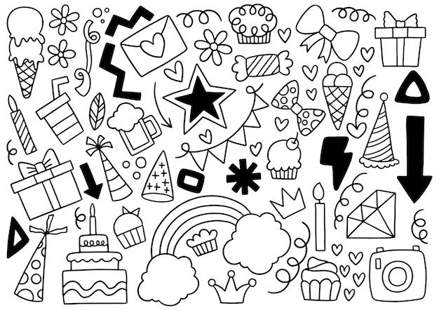 Ręcznie rysowane party doodle zestaw wszystkiego najlepszego z okazji urodzin