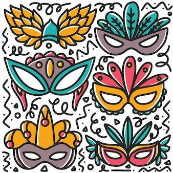 Ręcznie rysowane party mask doodle zestaw z ikonami i elementami projektu
