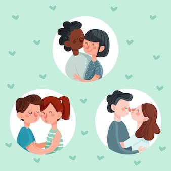 Ręcznie Rysowane Pary Całowanie Ilustracja Darmowych Wektorów