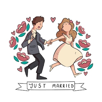 Ręcznie rysowane pary małżeńskie z kwiatami