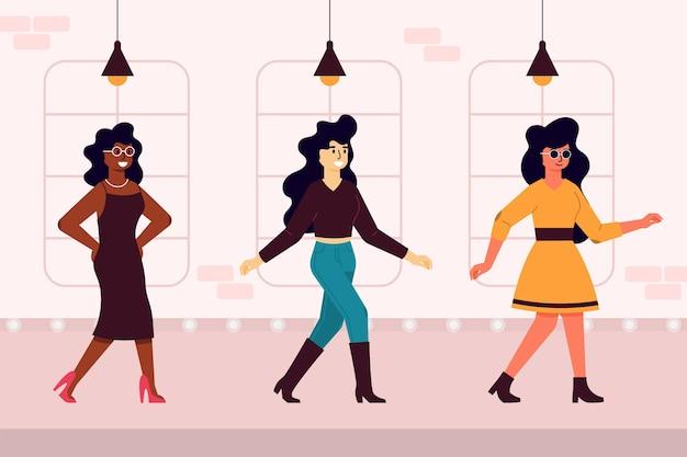 Ręcznie rysowane pas startowy pokazu mody