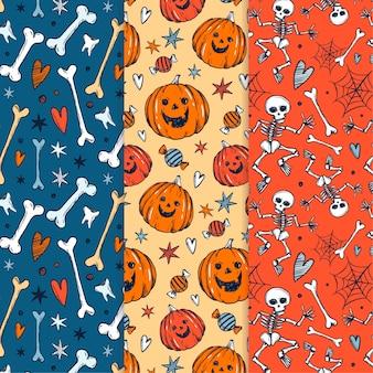 Ręcznie rysowane paterny halloween