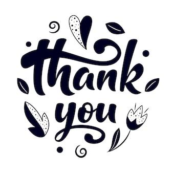 Ręcznie rysowane pędzla napis dziękuję znak