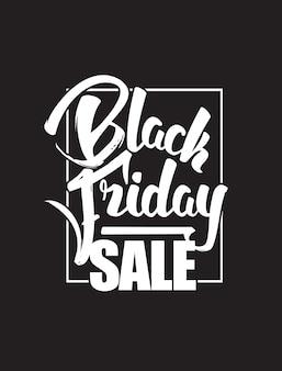 Ręcznie rysowane pędzla skład napis sprzedaży czarny piątek na białym tle na ciemnym tle.
