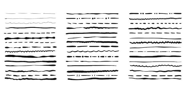 Ręcznie rysowane pędzle grunge. zestaw artystycznych pędzli pióro na białym tle. ilustracja wektorowa.
