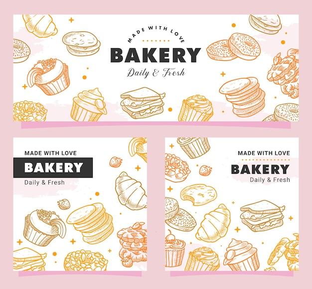 Ręcznie rysowane piekarnia, ciasta, śniadanie, chleb, słodycze, deser, ilustracja