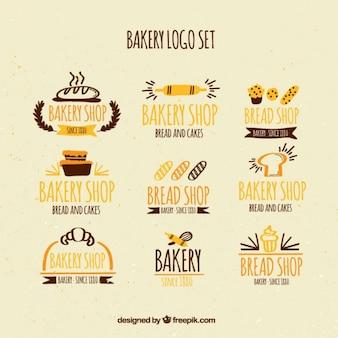 Ręcznie rysowane piekarnia logo zestaw