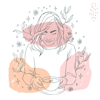 Ręcznie rysowane piękna kobieta od niechcenia pije kawę w stylu sztuki linii a
