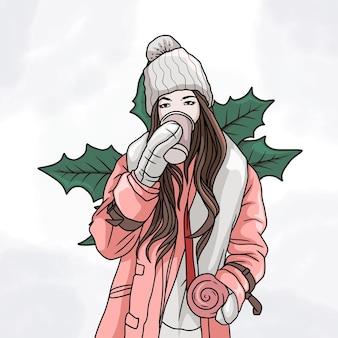 Ręcznie rysowane piękna kobieta ubrana w zimowe ubrania i pijąca kawę w kolorowym stylu