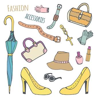 Ręcznie rysowane piękna kolekcja modnych kobiet akcesoria. zestaw mody. wektor izolowane szkice