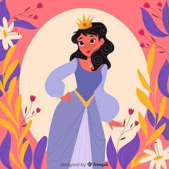 Ręcznie rysowane piękna księżniczka ilustracja