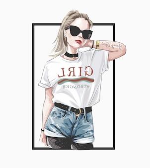 Ręcznie rysowane piękna młoda kobieta w okulary przeciwsłoneczne.