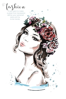 Ręcznie rysowane piękna młoda kobieta z wiankiem kwiatów włosów
