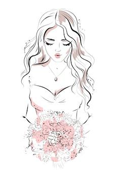 Ręcznie rysowane piękna młoda kobieta.