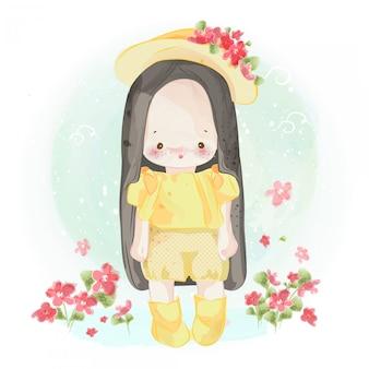 Ręcznie rysowane piękna, słodka, mała dziewczynka.