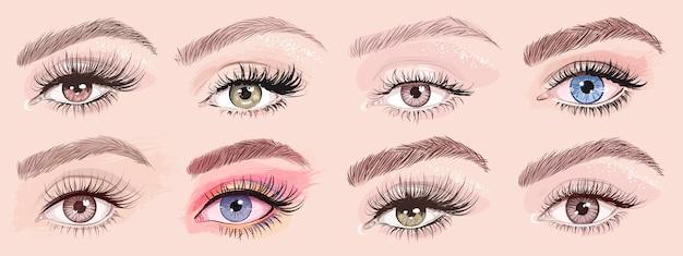 Ręcznie rysowane piękne kobiece oczy ustawione