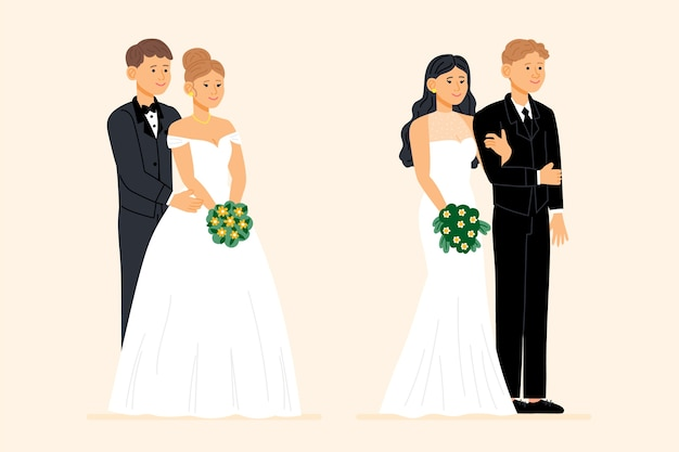 Ręcznie rysowane piękne pary ślubne