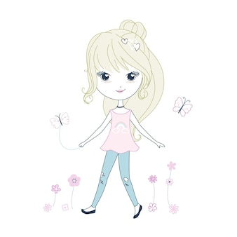 Ręcznie rysowane piękne, słodkie kręcone włosy dziewczyna gra na zewnątrz.