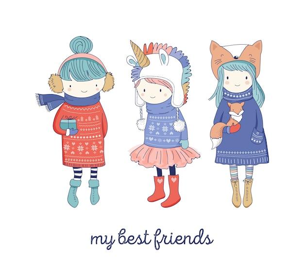 Ręcznie rysowane piękne słodkie małe zimowe dziewczyny kolekcja. kartki z życzeniami wesołych świąt