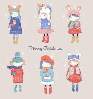 Ręcznie rysowane piękne słodkie małe zimowe dziewczyny kolekcja.